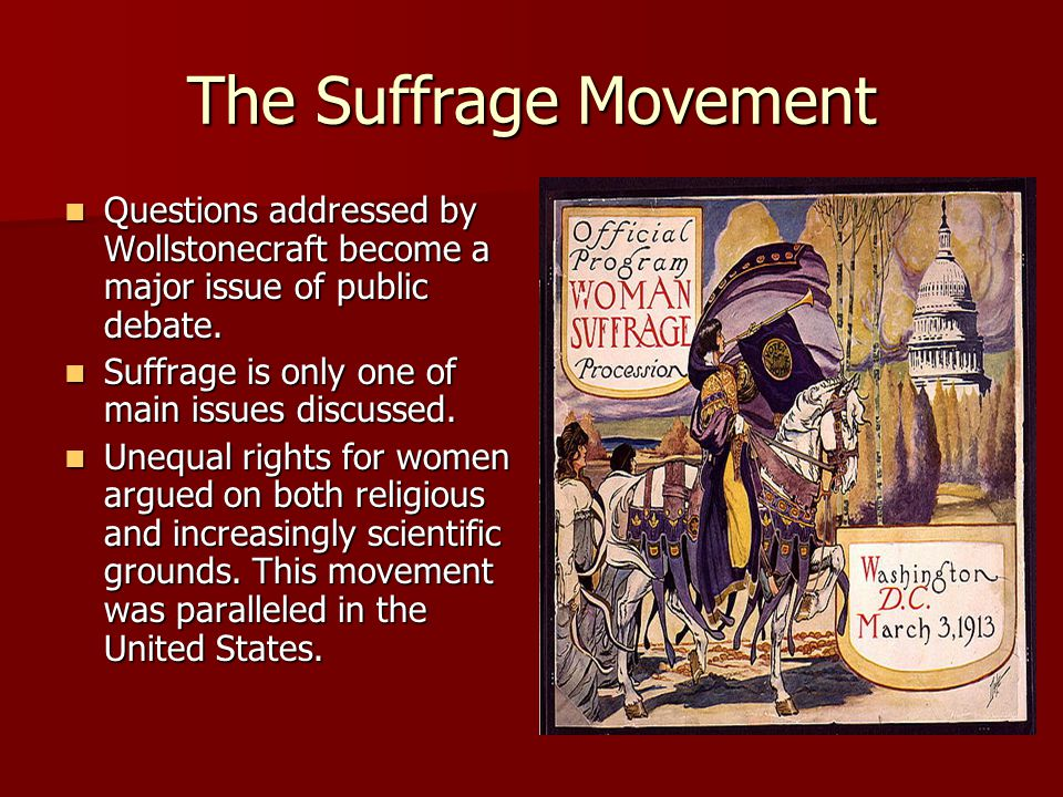 The Suffrage Movement Questions addressed by Wollstonecraft become a major issue of public debate. Questions addressed by Wollstonecraft become a majo