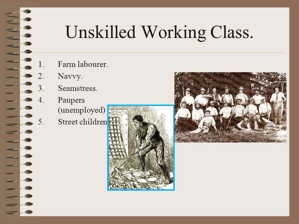 Unskilled Working Class. 1.Farm labourer. 2.Navvy.