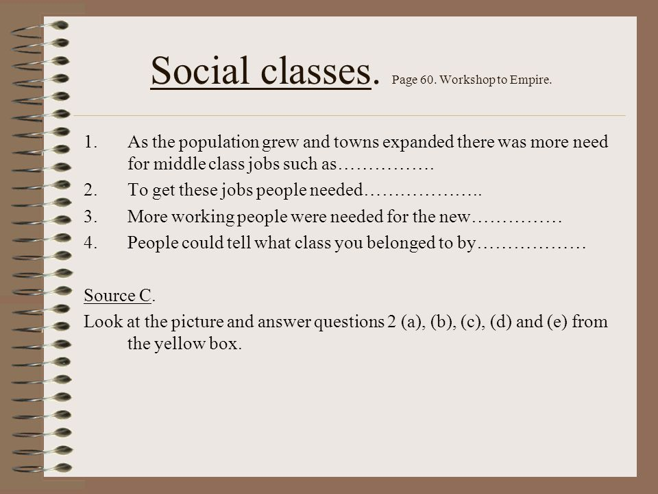 Social classes. Page 60. Workshop to Empire.