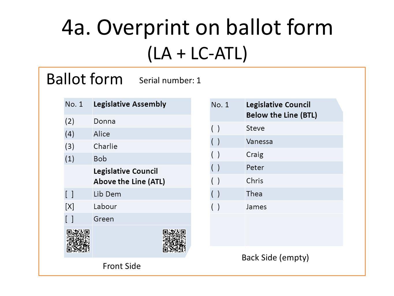 Serial number: 1 Ballot form 4a. Overprint on ballot form (LA + LC-ATL) No.
