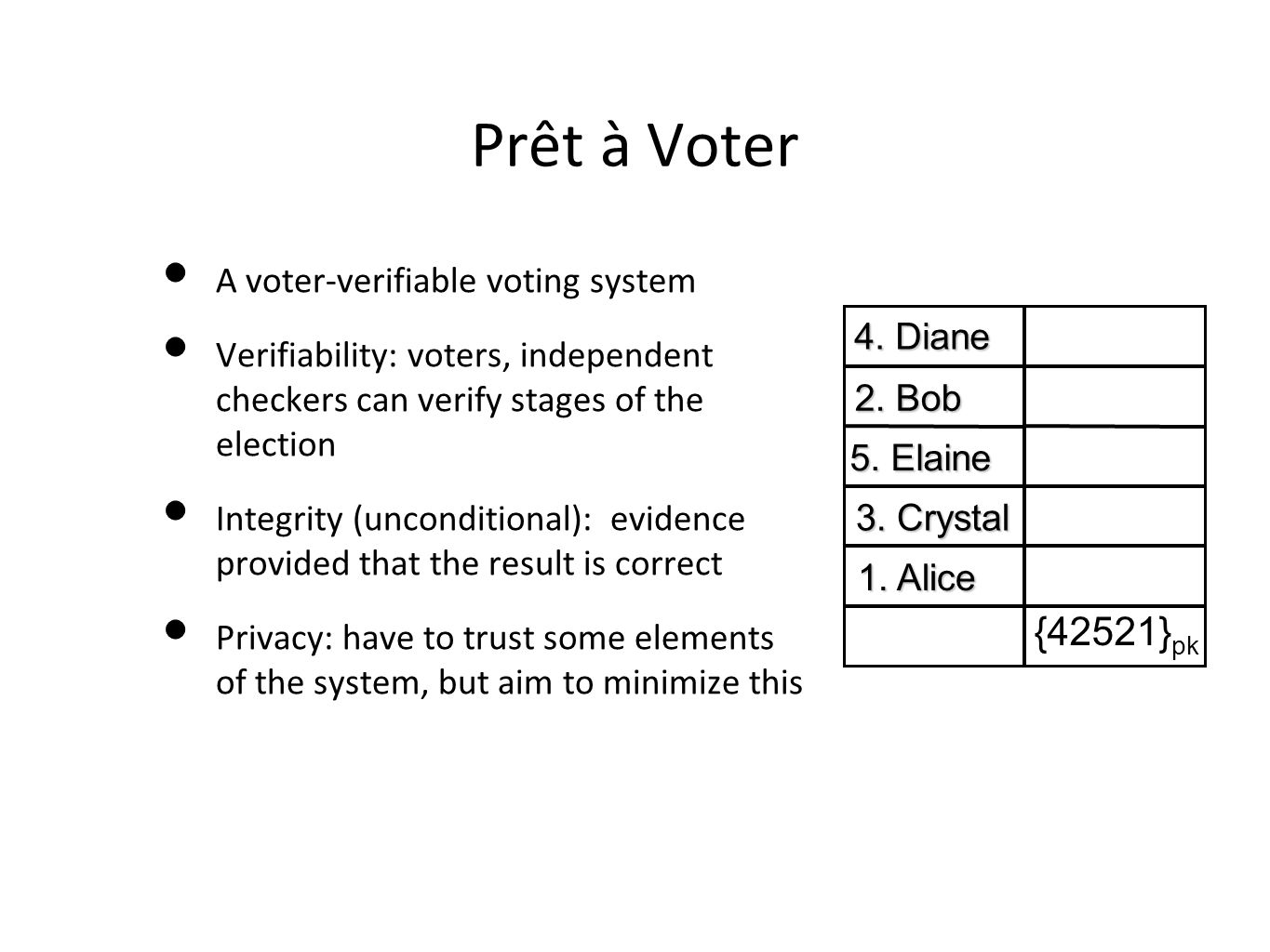 Prêt à Voter A voter-verifiable voting system Verifiability: voters, independent checkers can verify stages of the election Integrity (unconditional):
