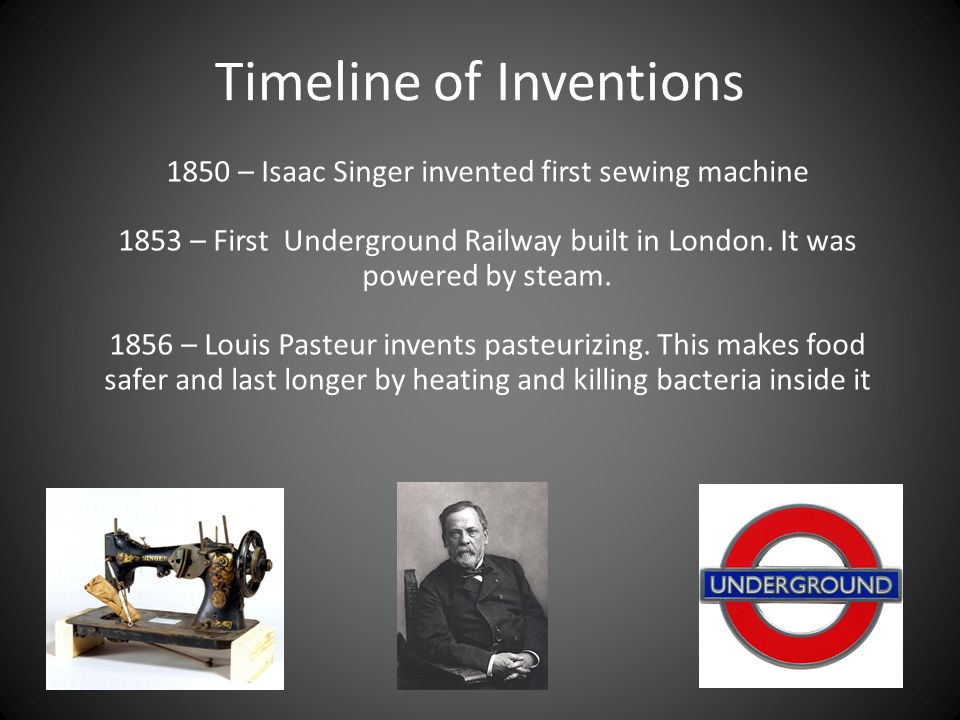 Timeline of Inventions 1864 – Jelly Babies invented by Herr Steinbeck 1872 – Penny Farthing bicycle invented by James Starley 1874 – First Typewriter invented by Christopher Sholes