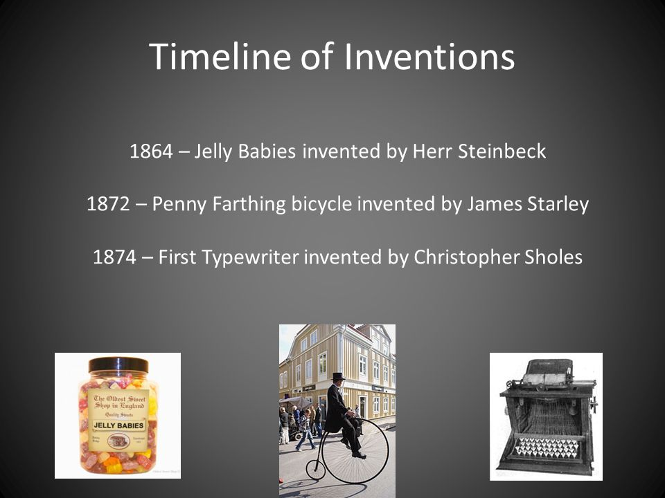 Timeline of Inventions 1876 – Alexander Bell invented the Telephone 1879 – Edison and Swan invented the first electric light bulb that can be used in the home 1885 – First petrol car was built by Karl Benz.