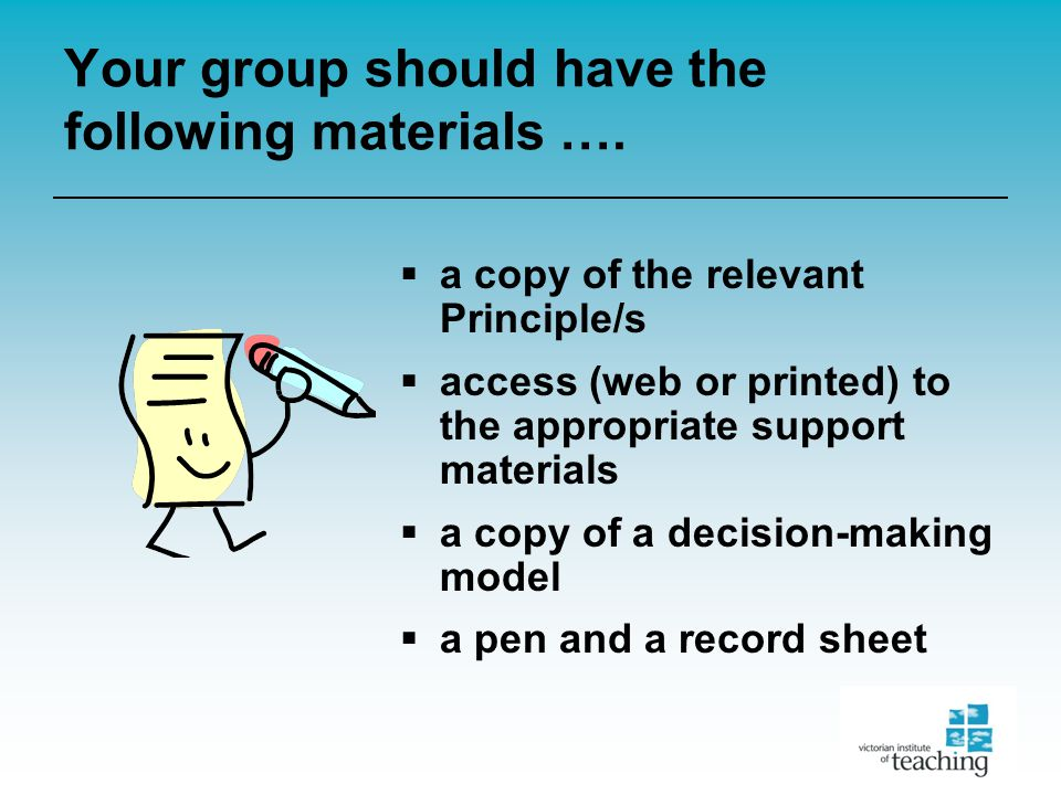Your group should have the following materials ….