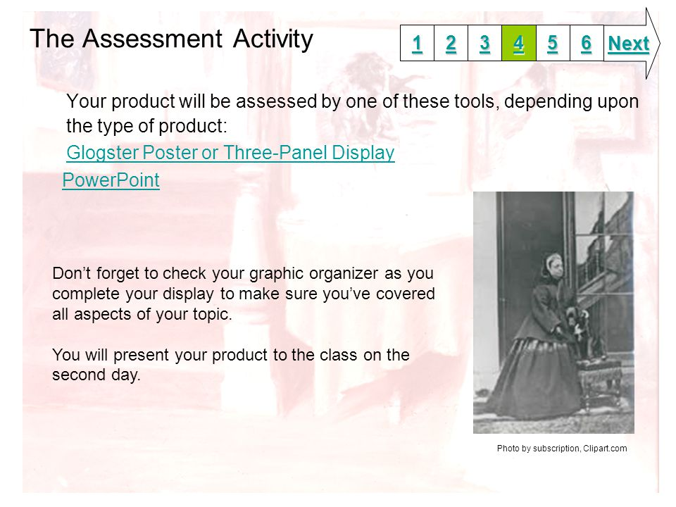 The Assessment Activity Your product will be assessed by one of these tools, depending upon the type of product: Glogster Poster or Three-Panel Display PowerPoint 1111 2222 3333 6666 5555 4444 Next Don't forget to check your graphic organizer as you complete your display to make sure you've covered all aspects of your topic.