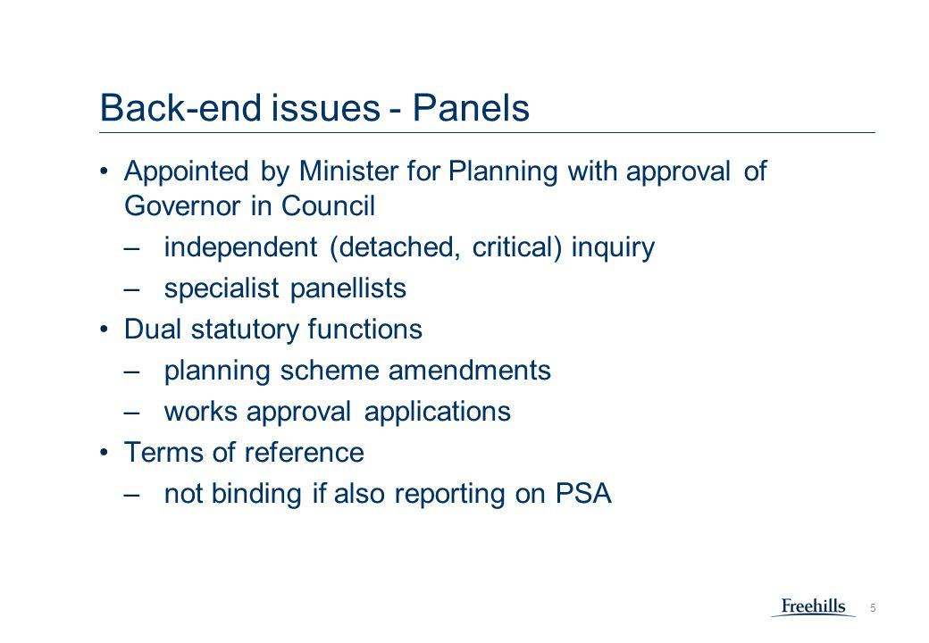 6 Back-end issues Recurrent issues and problems at panels –project definition how it has evolved alternatives –cumulative impact assessment where to draw the line –insufficient detail in characterising 'second order' impacts particularly for construction-related impacts differing views on risk-based approach
