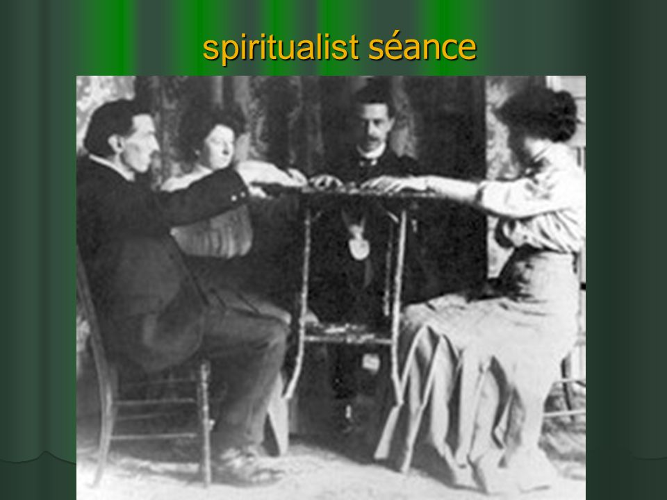 Politics of spiritualism 'domestic' spiritualism vs professional stage magicians 'domestic' spiritualism vs professional stage magicians (by midcentury: magic was secular entertainment) Gender and class issues Sexual subtext Threatening female occult power