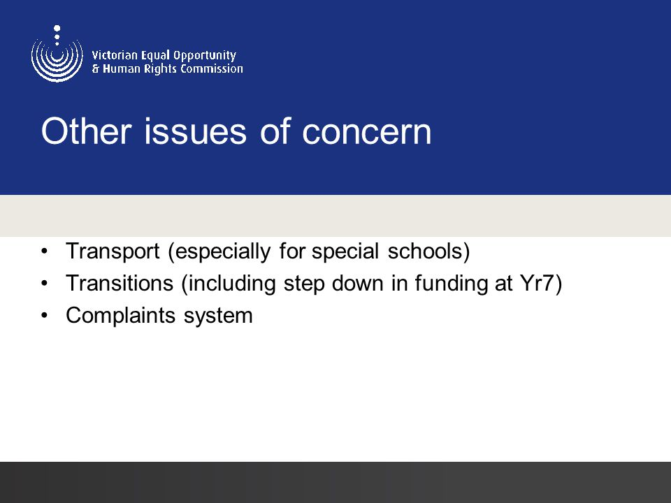 Other issues of concern Transport (especially for special schools) Transitions (including step down in funding at Yr7) Complaints system