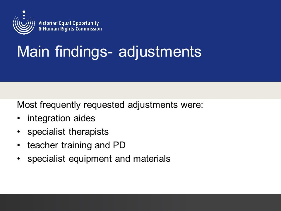 Main findings- adjustments Most frequently requested adjustments were: integration aides specialist therapists teacher training and PD specialist equipment and materials