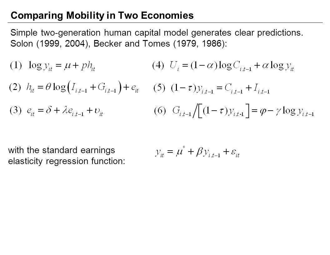 Comparing Mobility in Two Economies Simple two-generation human capital model generates clear predictions.