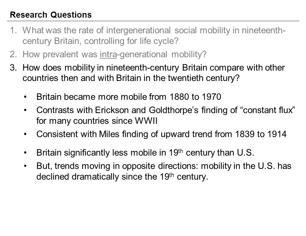 Research Questions 1.What was the rate of intergenerational social mobility in nineteenth- century Britain, controlling for life cycle.