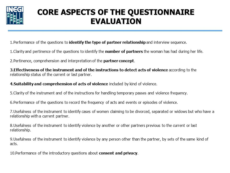 CORE ASPECTS OF THE QUESTIONNAIRE EVALUATION 1.Performance of the questions to identify the type of partner relationship and interview sequence. 1.Cla
