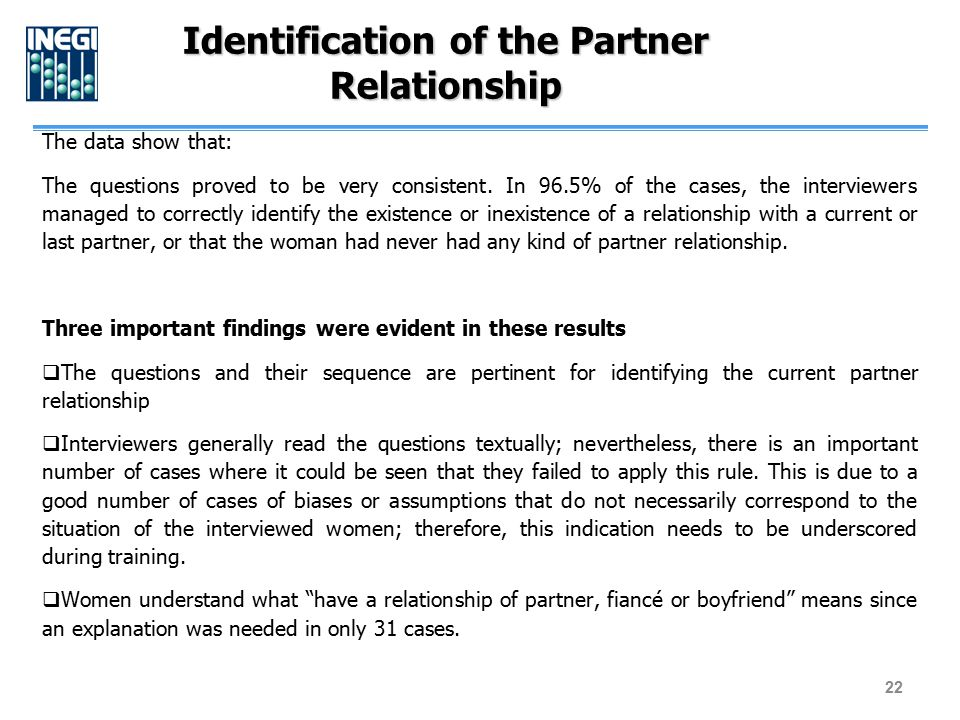 The data show that: The questions proved to be very consistent. In 96.5% of the cases, the interviewers managed to correctly identify the existence or