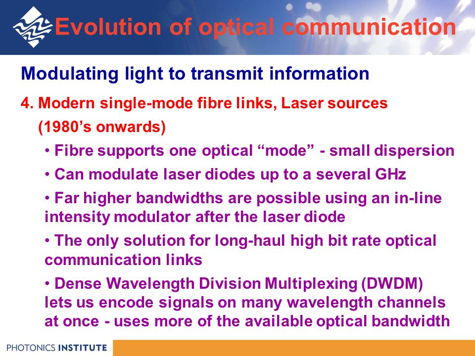 Modulating light to transmit information 4.