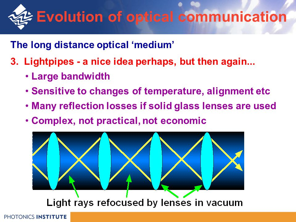 The long distance optical 'medium' 3. Lightpipes - a nice idea perhaps, but then again...