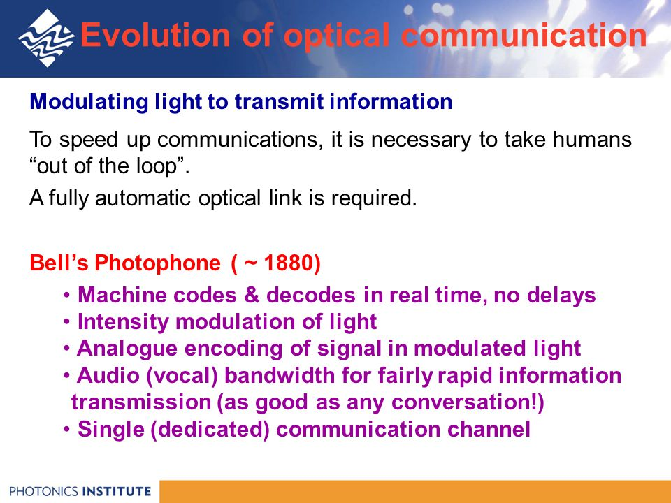 Modulating light to transmit information To speed up communications, it is necessary to take humans out of the loop .