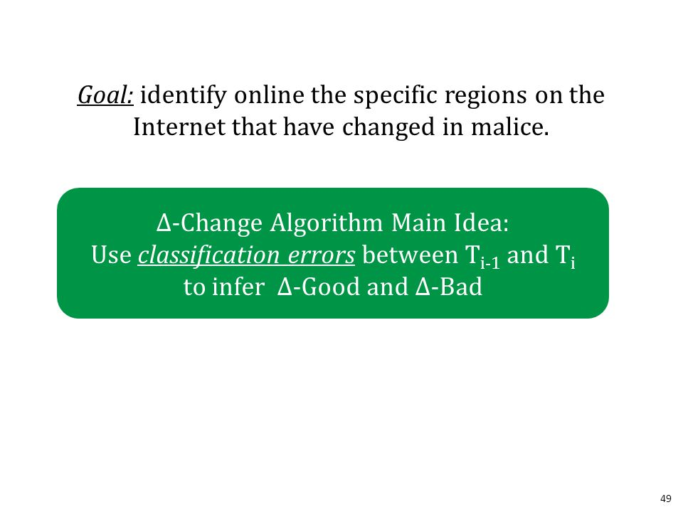 49 Goal: identify online the specific regions on the Internet that have changed in malice.