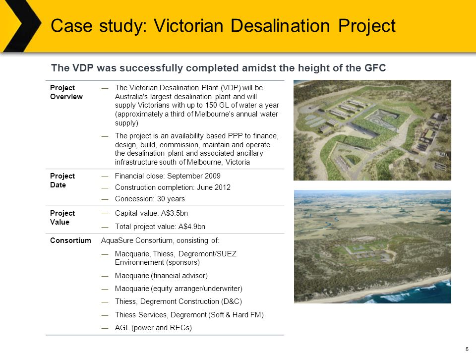 5 Case study: Victorian Desalination Project The VDP was successfully completed amidst the height of the GFC Project Overview ―The Victorian Desalination Plant (VDP) will be Australia s largest desalination plant and will supply Victorians with up to 150 GL of water a year (approximately a third of Melbourne s annual water supply) ―The project is an availability based PPP to finance, design, build, commission, maintain and operate the desalination plant and associated ancillary infrastructure south of Melbourne, Victoria Project Date ―Financial close: September 2009 ―Construction completion: June 2012 ―Concession: 30 years Project Value ―Capital value: A$3.5bn ―Total project value: A$4.9bn ConsortiumAquaSure Consortium, consisting of: ― Macquarie, Thiess, Degremont/SUEZ Environnement (sponsors) ― Macquarie (financial advisor) ― Macquarie (equity arranger/underwriter) ― Thiess, Degremont Construction (D&C) ― Thiess Services, Degremont (Soft & Hard FM) ― AGL (power and RECs)