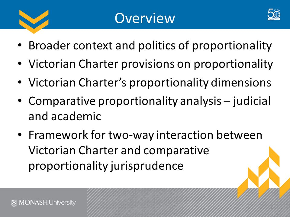 Overview Broader context and politics of proportionality Victorian Charter provisions on proportionality Victorian Charter's proportionality dimensions Comparative proportionality analysis – judicial and academic Framework for two-way interaction between Victorian Charter and comparative proportionality jurisprudence 2