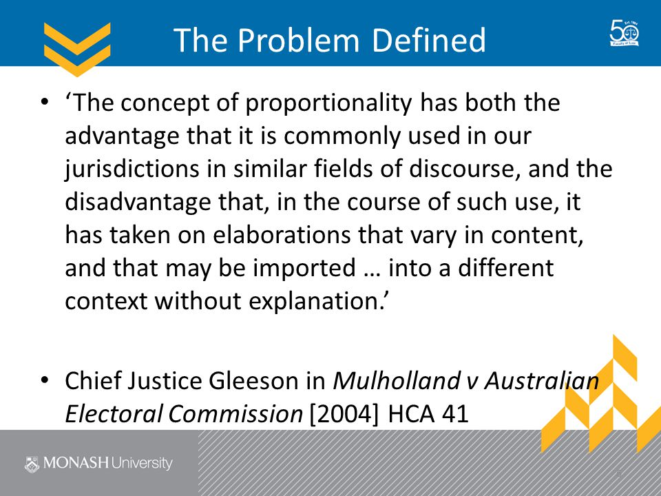 Proportionality Dimensions I #1 Individual Vic Charter rights with in-built limits/elements going to proportionality: – Eg 1: notions of 'arbitrariness' implicated in rights to life (s 9), right to privacy (s 13), and right to liberty/security ( s21) – Eg 2: assessments of reasonable necessity implicated in freedom of expression (s 15) and humane treatment in detention (s 22) – Eg 3: aspects of discrimination (eg discriminatory effect of chosen means) implicated in rights of recognition and equality (s 8), protection of families and children (s 17), participation in public life (s 18), due respect for cultural rights (s 19), and rights in criminal proceedings (s 25) 17