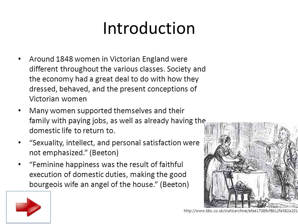 Introduction Around 1848 women in Victorian England were different throughout the various classes. Society and the economy had a great deal to do with