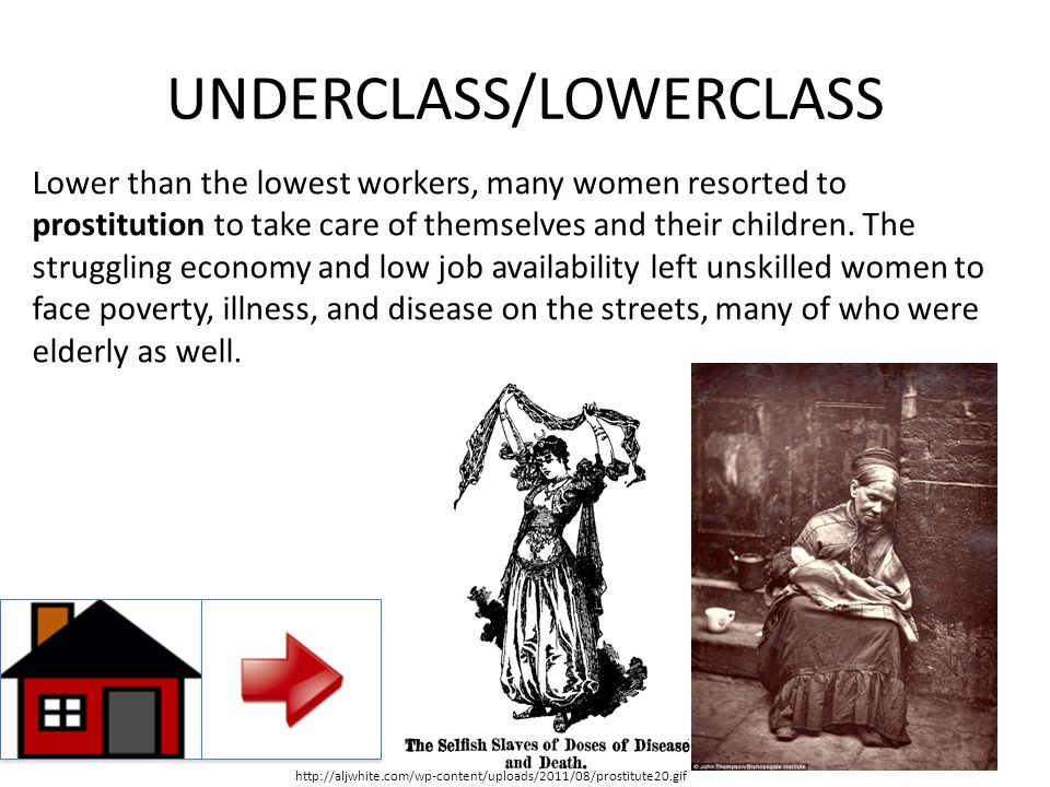 UNDERCLASS/LOWERCLASS Lower than the lowest workers, many women resorted to prostitution to take care of themselves and their children. The struggling