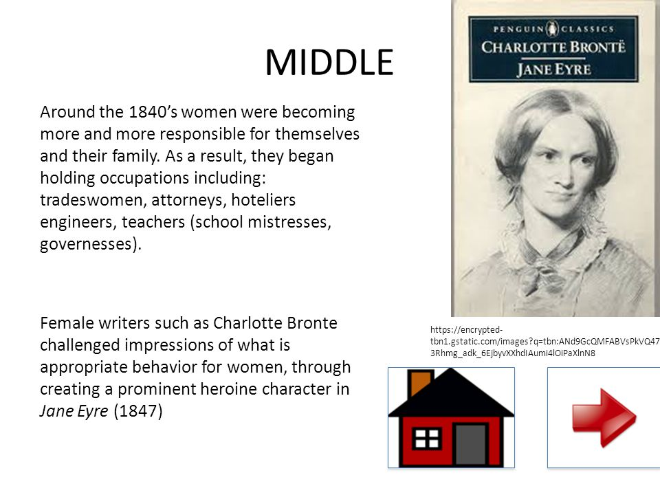 MIDDLE Around the 1840's women were becoming more and more responsible for themselves and their family. As a result, they began holding occupations in