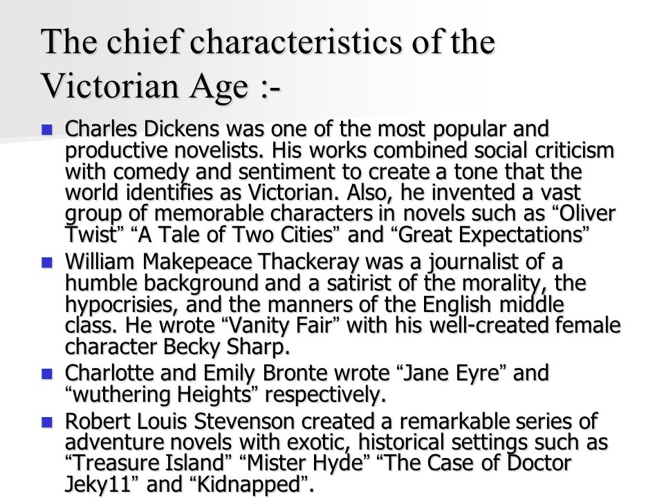 The chief characteristics of the Victorian Age :- Charles Dickens was one of the most popular and productive novelists.