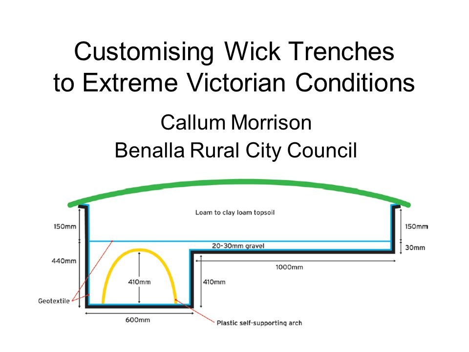 Customising Wick Trenches to Extreme Victorian Conditions Callum Morrison Benalla Rural City Council PAGE 57