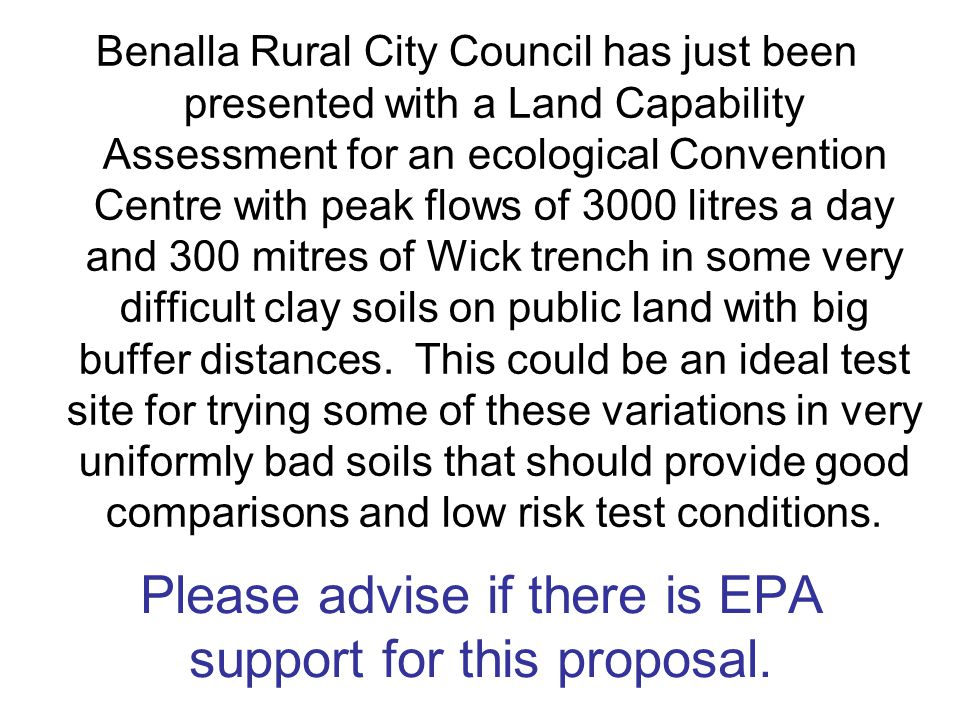 Please advise if there is EPA support for this proposal.