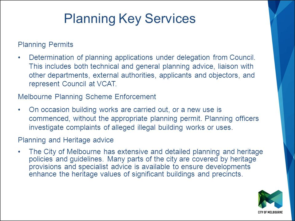 Click to edit Master title style Click to edit Master subtitle style Planning Key Services Planning Permits Determination of planning applications under delegation from Council.