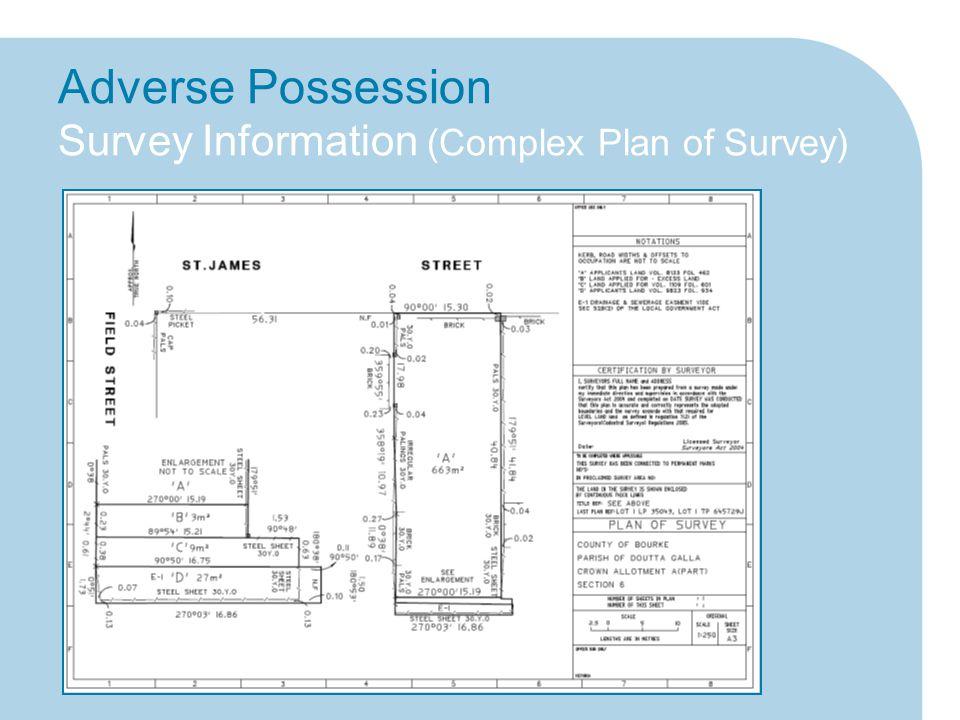 Adverse Possession Survey Information (Complex Plan of Survey)