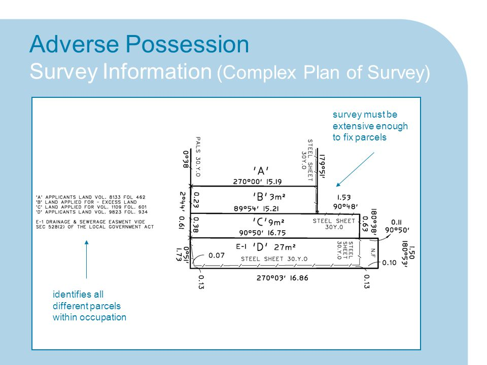 Adverse Possession Survey Information (Complex Plan of Survey) survey must be extensive enough to fix parcels identifies all different parcels within occupation