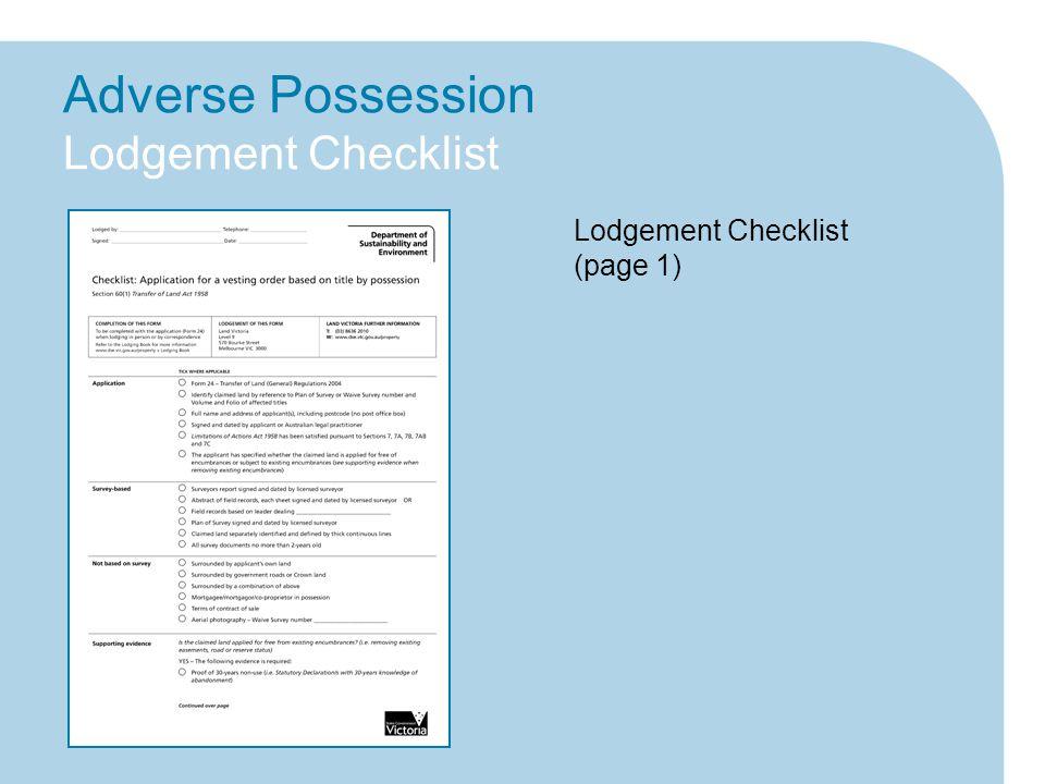 Adverse Possession Lodgement Checklist Lodgement Checklist (page 1)