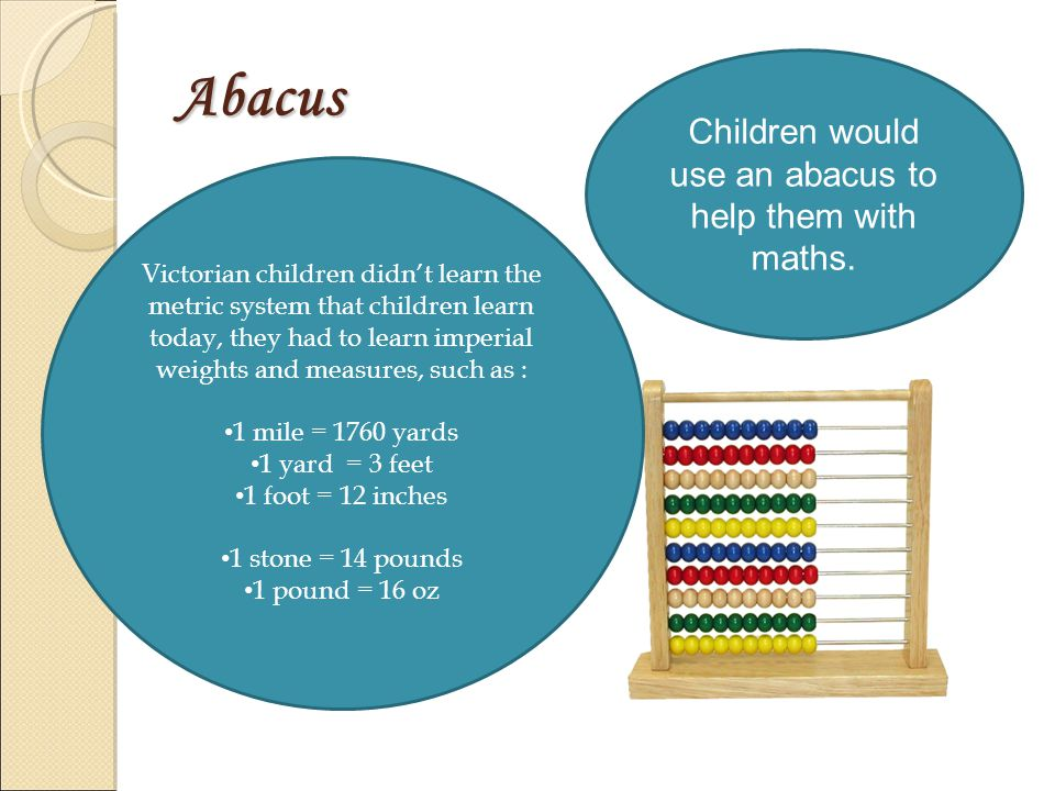 Abacus Children would use an abacus to help them with maths.