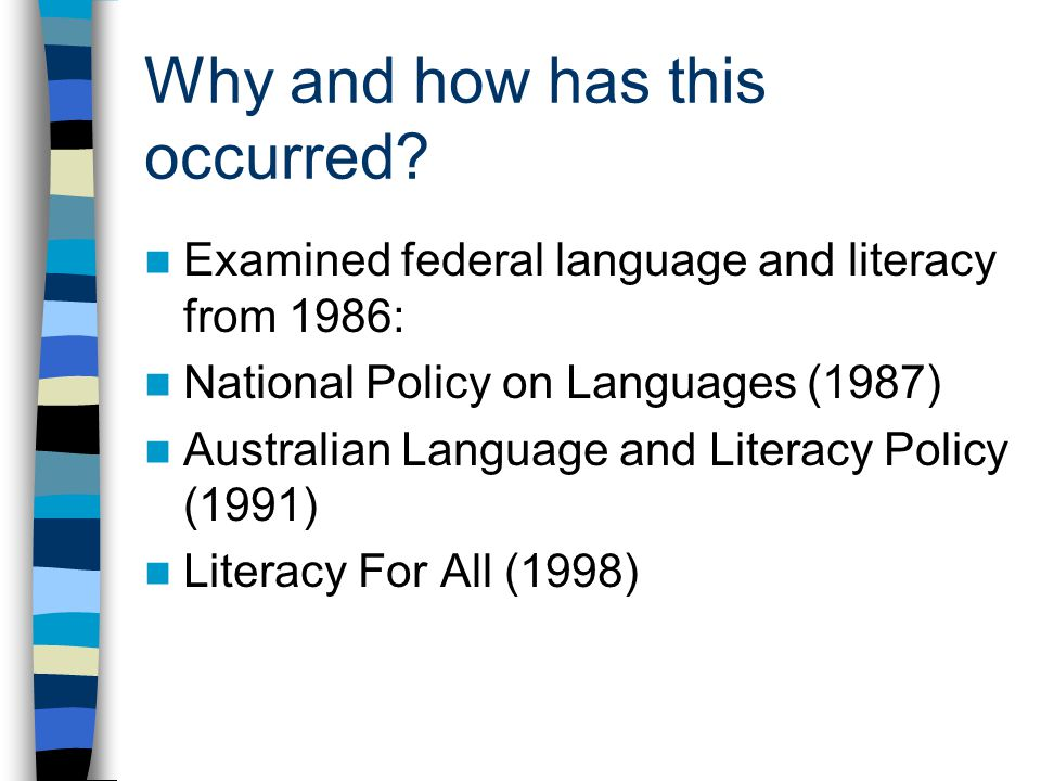 Victorian documents ESL Companion to CSF (2000) ESL Companion VELS (2005) The ESL Handbook (2006) ESL Continuum (2008) PoLT (2004) Blueprints (2003; 2008) Literacy Teaching and Learning in Victorian Schools (2006) VCAA (2008)