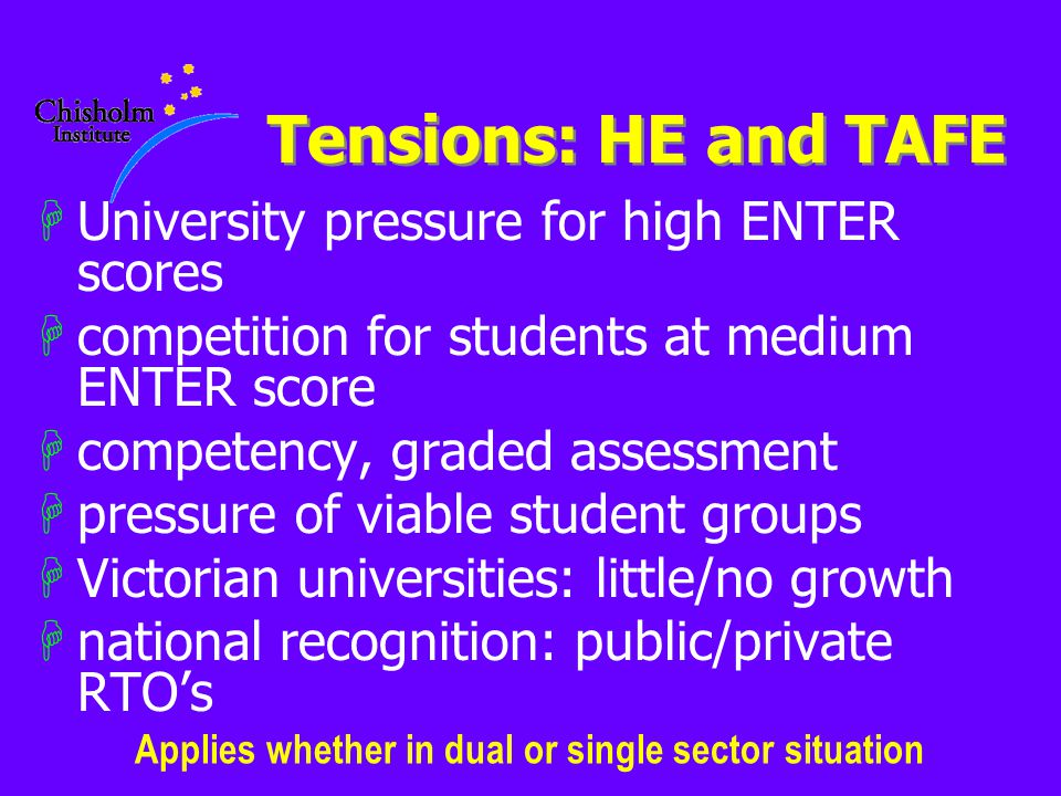 Tensions: HE and TAFE HUniversity pressure for high ENTER scores Hcompetition for students at medium ENTER score Hcompetency, graded assessment Hpressure of viable student groups HVictorian universities: little/no growth Hnational recognition: public/private RTO's Applies whether in dual or single sector situation