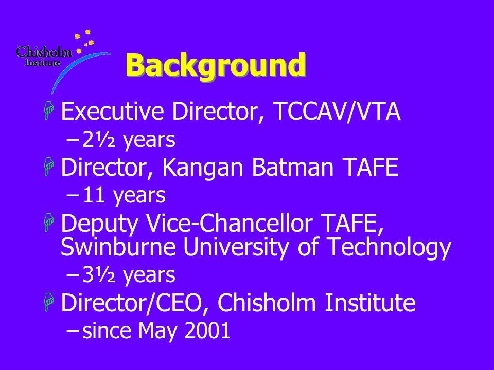 Background HExecutive Director, TCCAV/VTA –2½ years HDirector, Kangan Batman TAFE –11 years HDeputy Vice-Chancellor TAFE, Swinburne University of Technology –3½ years HDirector/CEO, Chisholm Institute –since May 2001