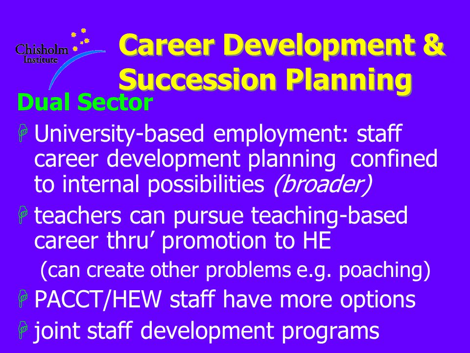 Career Development & Succession Planning Dual Sector HUniversity-based employment: staff career development planning confined to internal possibilitie