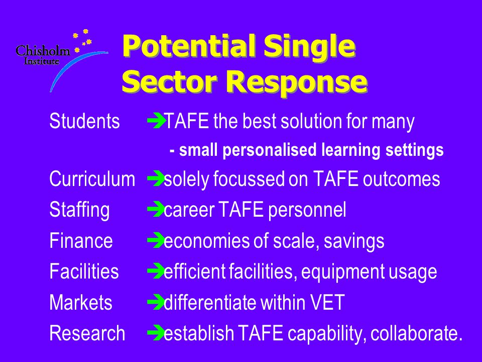 Potential Single Sector Response Students Curriculum Staffing Finance Facilities Markets Research èTAFE the best solution for many - small personalised learning settings èsolely focussed on TAFE outcomes ècareer TAFE personnel èeconomies of scale, savings èefficient facilities, equipment usage èdifferentiate within VET èestablish TAFE capability, collaborate.