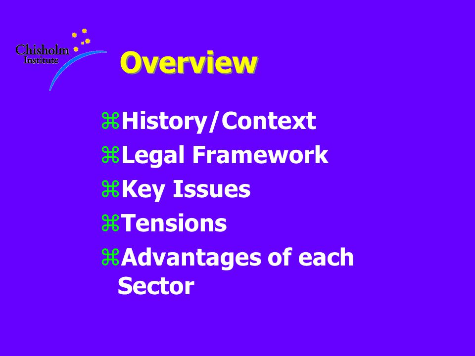 Overview zHistory/Context zLegal Framework zKey Issues zTensions zAdvantages of each Sector