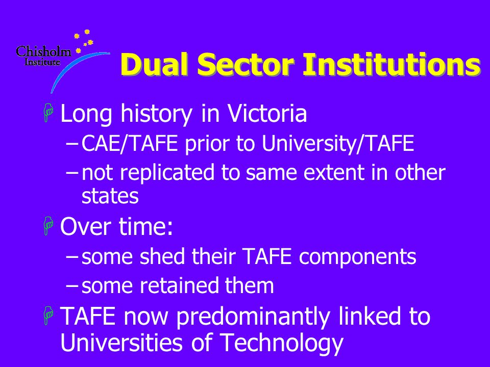 Dual Sector Institutions HLong history in Victoria –CAE/TAFE prior to University/TAFE –not replicated to same extent in other states HOver time: –some shed their TAFE components –some retained them HTAFE now predominantly linked to Universities of Technology