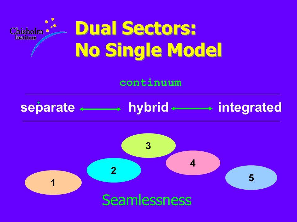 Dual Sectors: No Single Model integratedseparatehybrid 1 3 5 continuum 2 Seamlessness 4