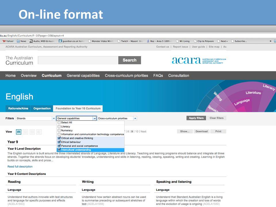 13 On-line format