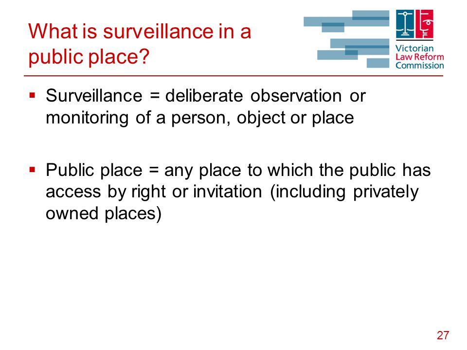 27 What is surveillance in a public place.