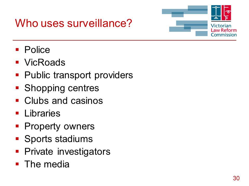 30 Who uses surveillance.