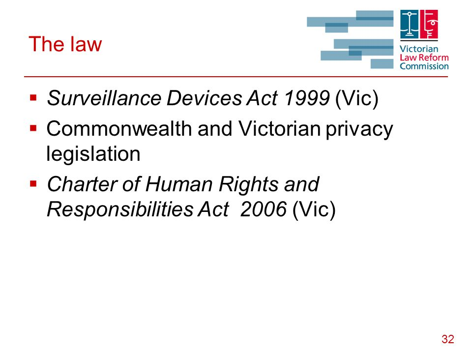 32 The law  Surveillance Devices Act 1999 (Vic)  Commonwealth and Victorian privacy legislation  Charter of Human Rights and Responsibilities Act 2