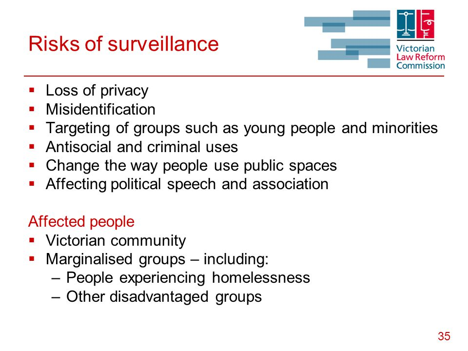 35 Risks of surveillance  Loss of privacy  Misidentification  Targeting of groups such as young people and minorities  Antisocial and criminal use