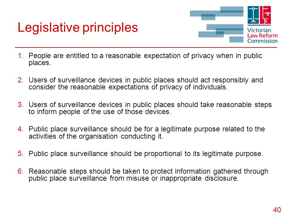 40 Legislative principles  People are entitled to a reasonable expectation of privacy when in public places.