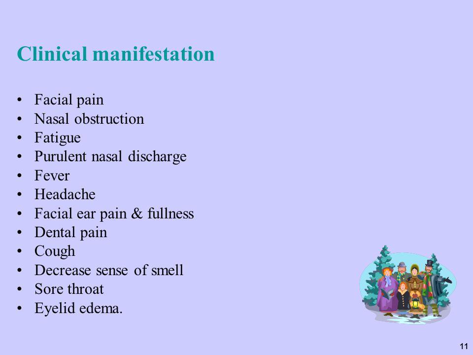 11 Clinical manifestation Facial pain Nasal obstruction Fatigue Purulent nasal discharge Fever Headache Facial ear pain & fullness Dental pain Cough D